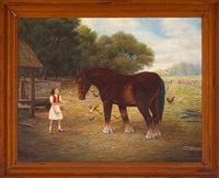young girl feeding a horse and chickens by john reed campbell
