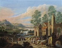 flusslandschaft mit ruine und ländlicher staffage by marc baets