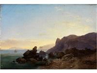felsige küstenlandschaft mit segelbooten auf der ruhigen meeresoberfläche unter blauem himmel im spätlicht by karoly marko the younger