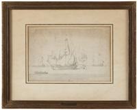 Dutch ships at anchor off the coast