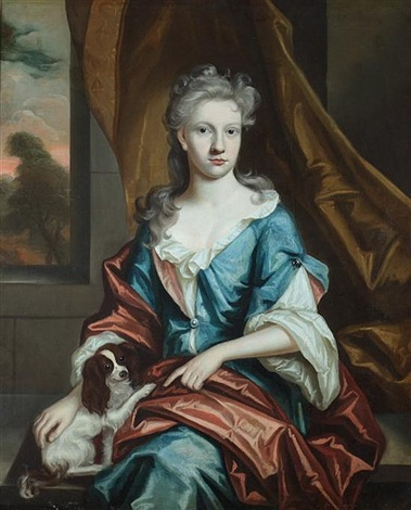 portrait of young woman with papillon dog by continental school 19