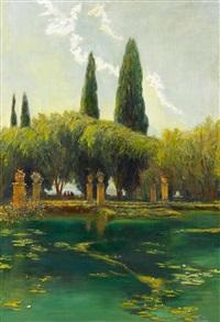 stilles wasser (villa d'este - tivoli bei rom) by max friedrich rabes
