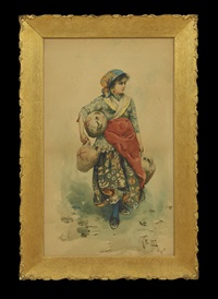 neapolitan girl carrying jugs of water by arnaldo de lisio