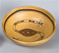 black on cream bowl with serpent motif by nampeyo