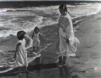 ninas en la playa by francisco serra