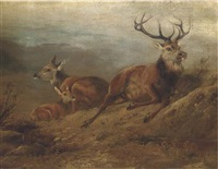 a stag, hind and doe in a landscape by j. webb