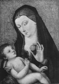 madonna, dem kind einen apfel reichend by master of the magdalen legend