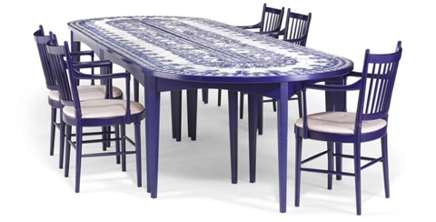 A Blue Lacquered Dining Room Suite Consisting Of 14 Armchairs And Table In Six