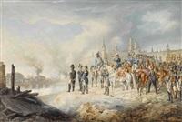 napoleon und sein stab auf einer anhöhe vor dem brennenden moskau by albrecht adam