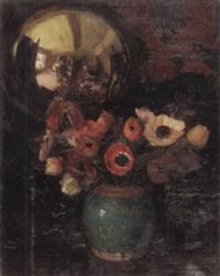 stilleben mit anemonenstrauss und selbstbildnis des malers in spiegelkugel by charles daniel ward