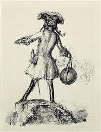 baron von münchhausen mit einer gezündeten bombe zum schwingen in der hand, auf einem felsen stehend by andreas paul weber