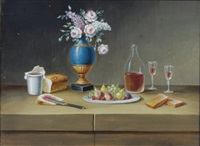 still life with flowers, fruit, wine and bread (+ 5 others; set of 6) by paul lelong