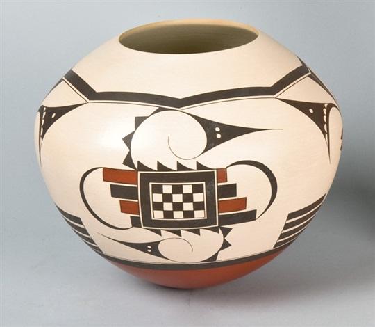 polychrome jar with whtie slip by yvonne lucas