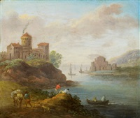 river landscape with castle and rural staffage by marc baets