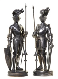 a knight with a shield and a pole arm (pair) by continental school