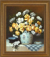 still life with gold roses and white azaleas by richard vernon goetz