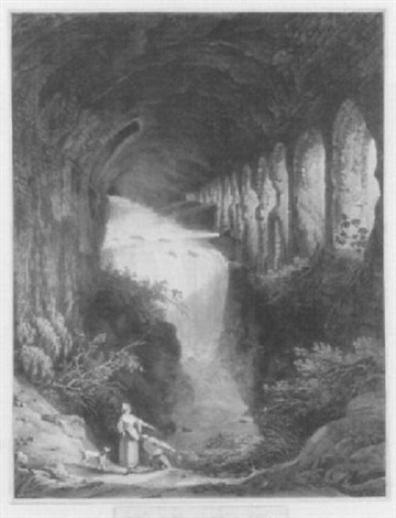 cascata in villa mecenate a tivoli by jean baptiste louis hubert