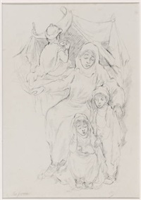 familie vor zeltbehausung by marga groove-marcovic