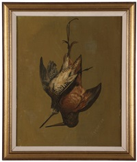 tromp l'oeil still life of hanging game birds by john j. eyers