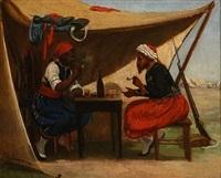 en negersoldat og en zouav i et telt by david jacobsen