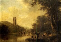 flusslandschaft mit steinbrücke und kirchturmruine by ludwig hess