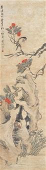 bird, flowers and rock by ren yi