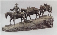 figural group of a trapper followed by his horses packed with game by r. clark