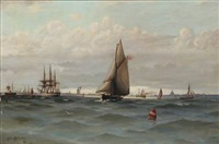 several ships on copenhagen roadstead by ludvig otto richarde