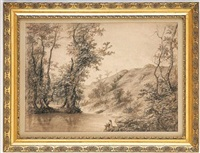 personnage assis au bord de l'eau by joseph marius agassis