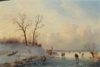 winterliche landschaft mit eisläufern auf gefrorenem see by andreas schelfhout
