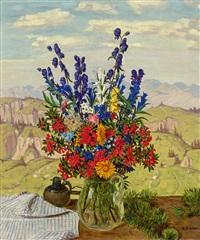 alpenblumen. bunter blumenstrauß vor gebirgslandschaft by hans dieter