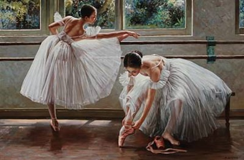 two ballet girls stretching out by alexander akopov