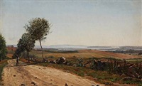summer landscape with a view to a fiord by ludvig kabell