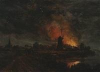 landskab med natlig ildebrand by cilius (johannes konrad) andersen