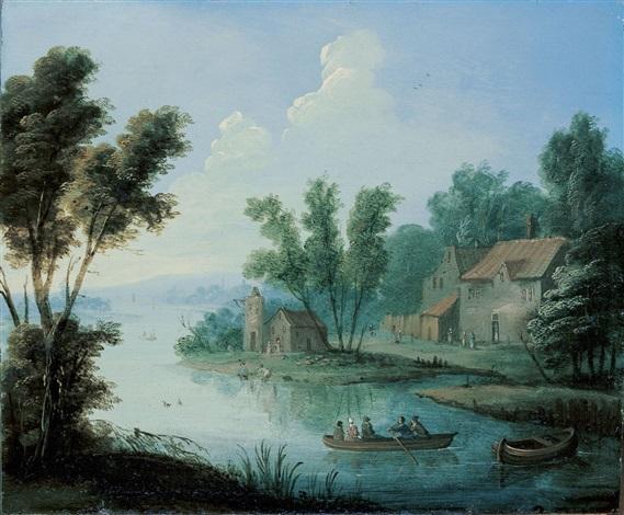 flusslandschaft mit ruderboot und gehöft by jan peter van bredael the younger