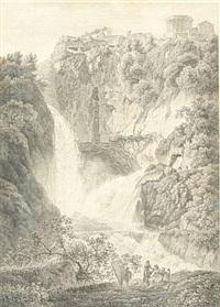 die grotte des neptuns mit den tempeln der vesta (+ sibylle in tivoli and der wasserfall des velino bey bern; pair) by friedrich wilhelm gmelin