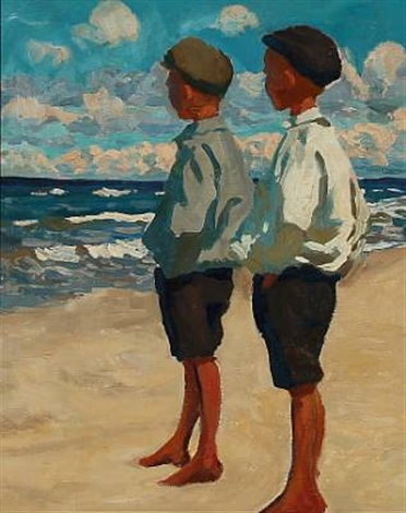 two boys on skagen beach by heinrich hellhoff