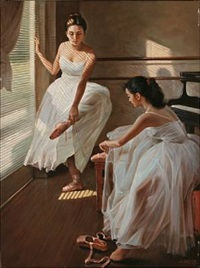 two ballet girls get ready for practicing by alexander akopov