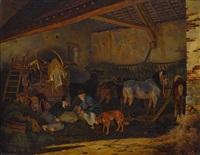 im pferdestall by peter heinrich lambert von hess