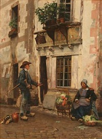 street scene with a greengrocer and a lumberjack by jan bedijs tom