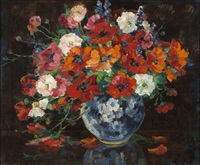 floral arrangement in a blue vase by alice blair thomas