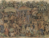 preparing for the cremation by gusti putu arca