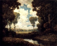a river landscape with cows grazing beyond by k. van santen