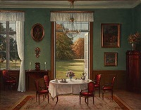 interior from a drawing room with open doors with a park by hans hilsoe