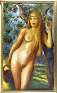 weiblicher akt unter einem kirschbaum by erich lermer