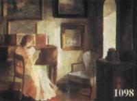 interieur mit junger frau by edith gert