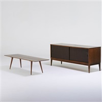 planner group sliding door cabinet and coffee table by paul mccobb
