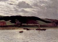 flußlandschaft mit booten an einem dunstigen herbsttag by alfred paul pfitzner