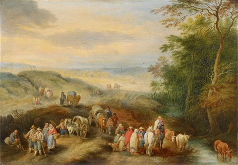 landscape with travellers and peasants by theobald michau