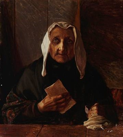 gammel kone med et brev an old woman with a letter by jorgen aabye